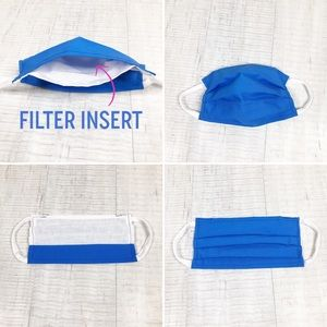 2 Face Mask with Filter Insert Pocket Elastic Loop